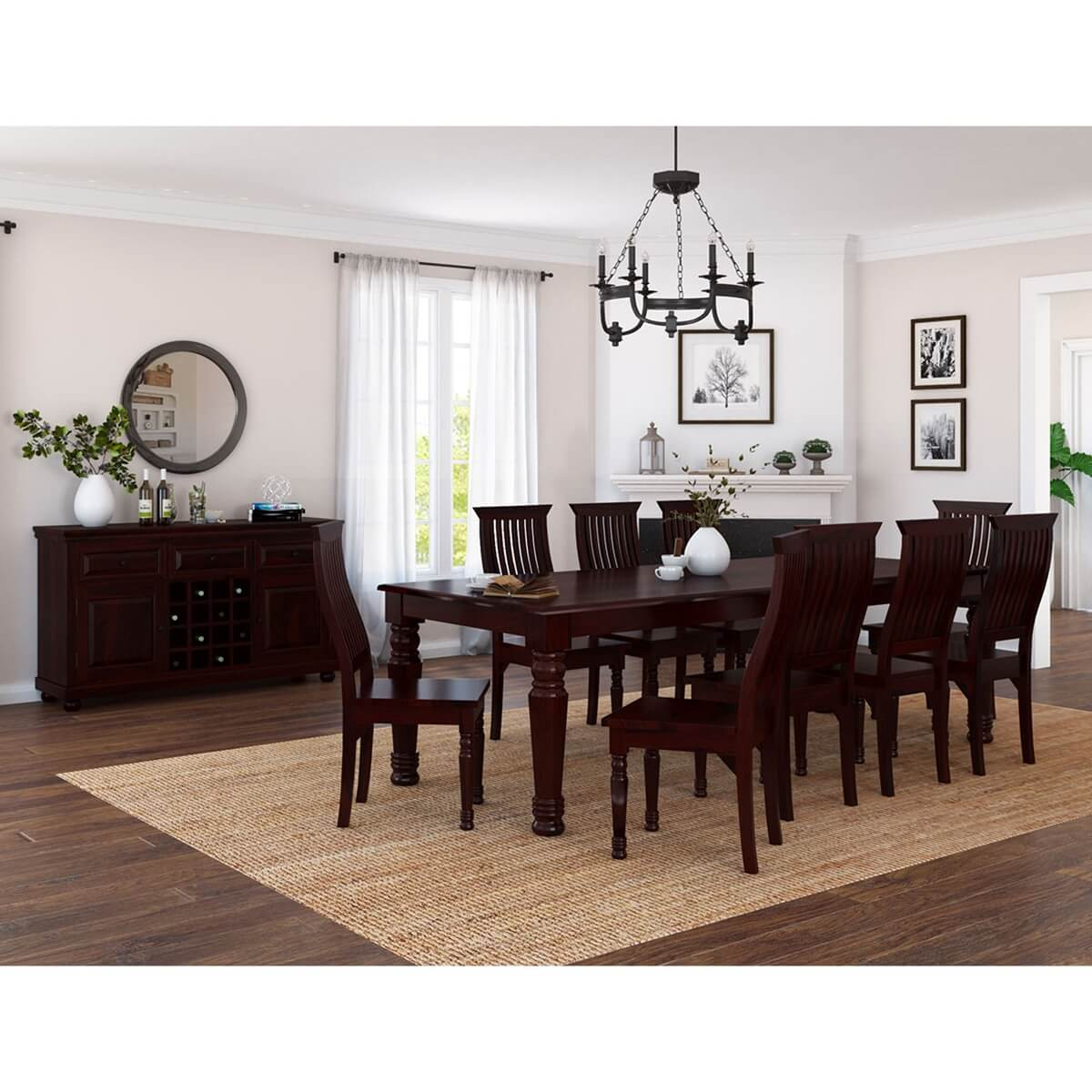 Sensational Colonial American Handcrafted Solid Wood 12 Piece Dining Room Set Machost Co Dining Chair Design Ideas Machostcouk