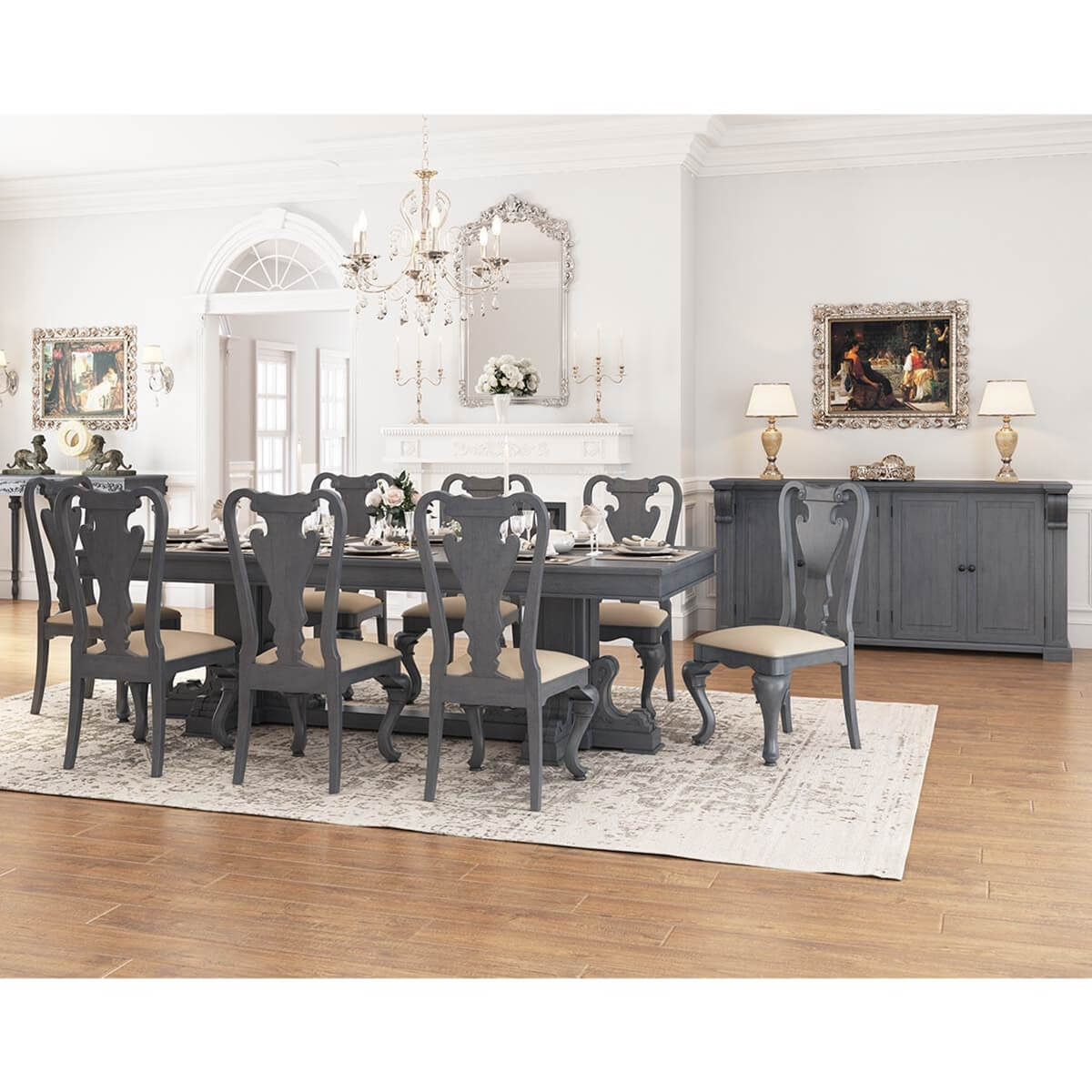 San Marino Solid Mahogany Wood 10 Piece Dining Room Set