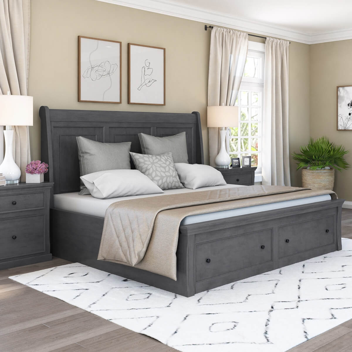 Kelowna Solid Mahogany Wood Gray Storage Platform Bed With Headboard