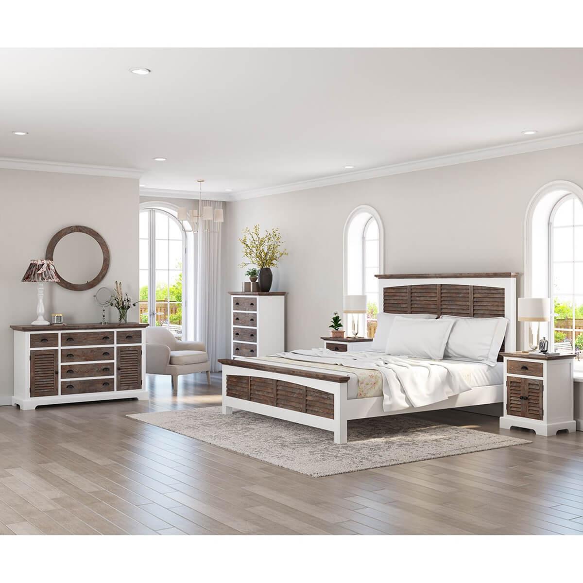 Danville Teak And Mahogany Wood Modern 5 Piece Bedroom Set