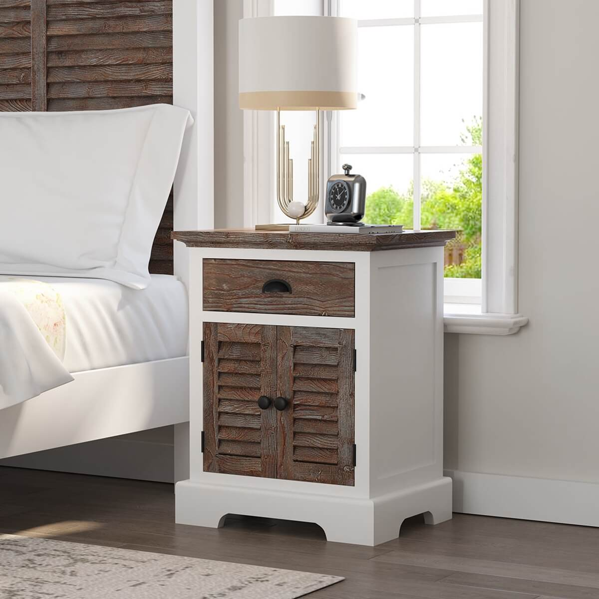 Danville Teak and Mahogany Wood Modern Nightstand with Drawer