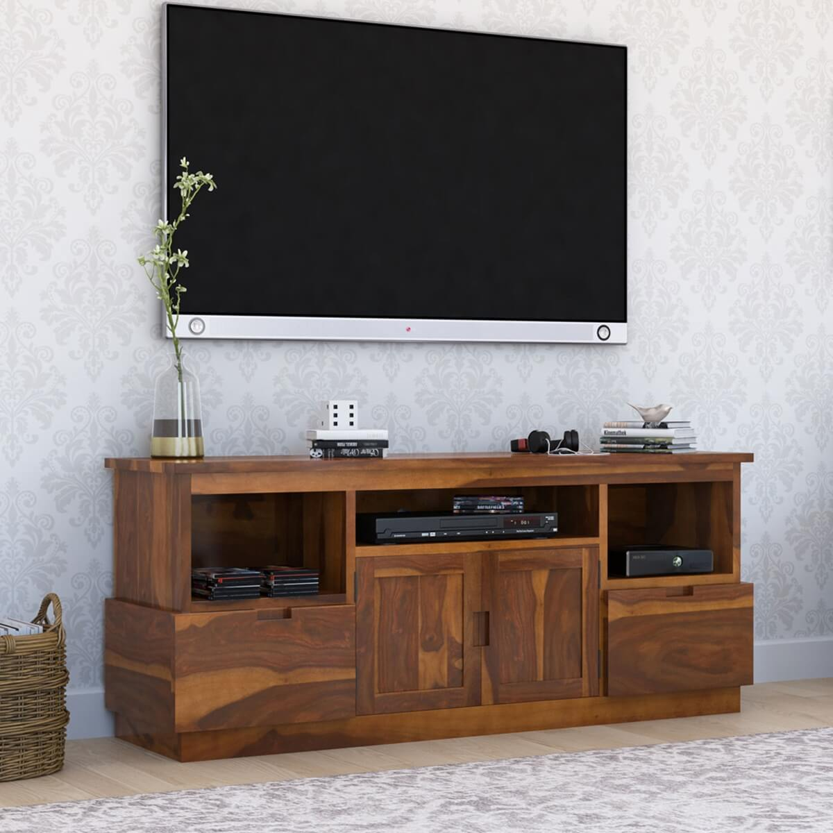 Modern Simplicity Rustic Solid Wood TV Media Stand with 2 Drawers