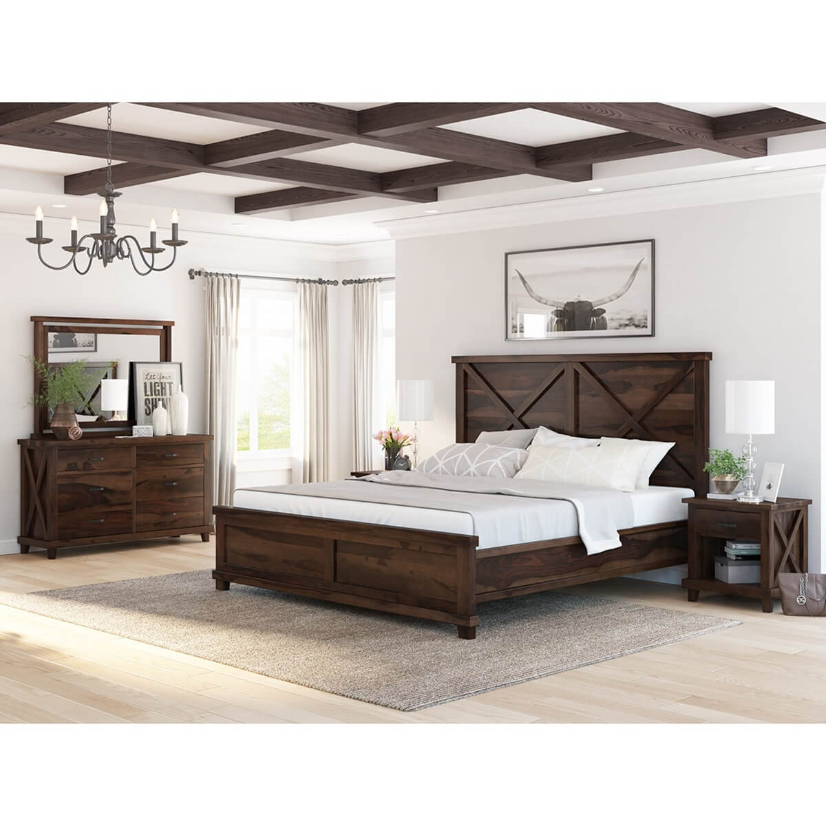 Antwerp Rustic Solid Wood 4 Piece Bedroom Set