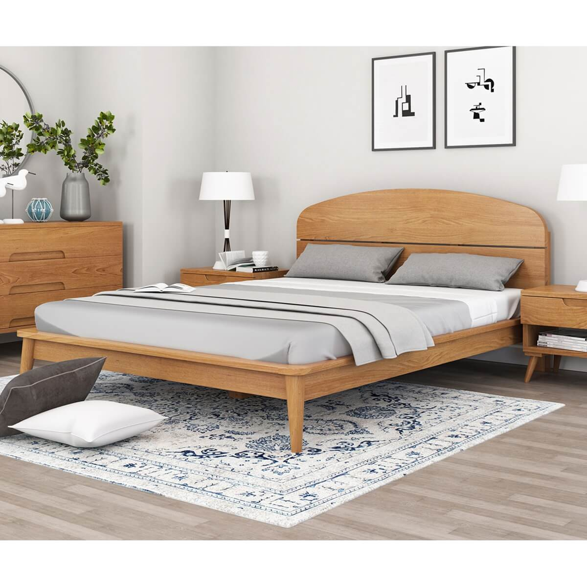 Picture of: Avondale Modern Style Teak Wood Platform Bed