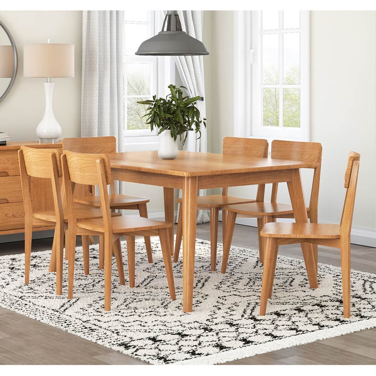 Avondale Teak Wood Modern Style Dining Room Table with 6 Chair Set