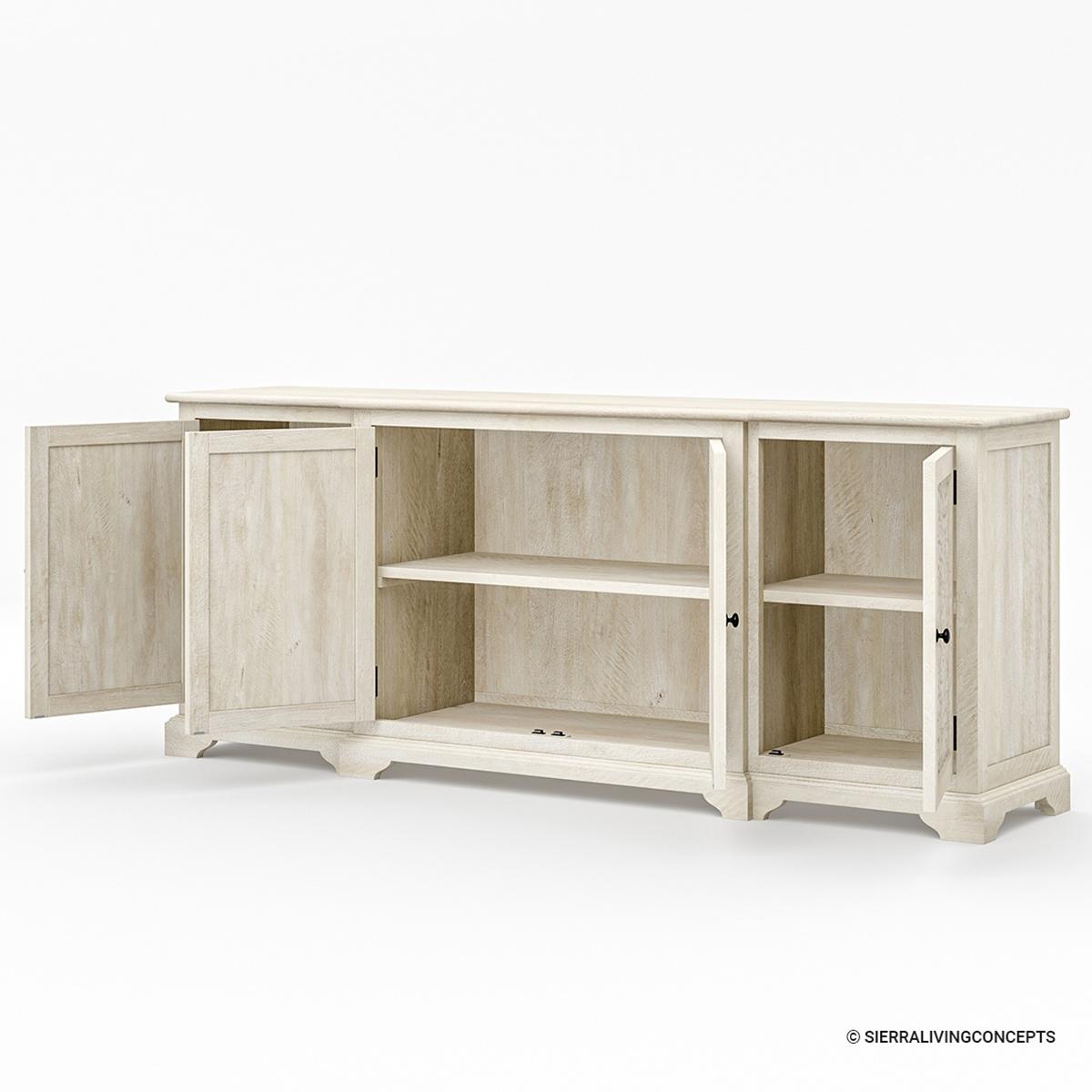 Calistoga Handcarved Mandala Art Weathered Solid Wood Large Buffet Cabinet