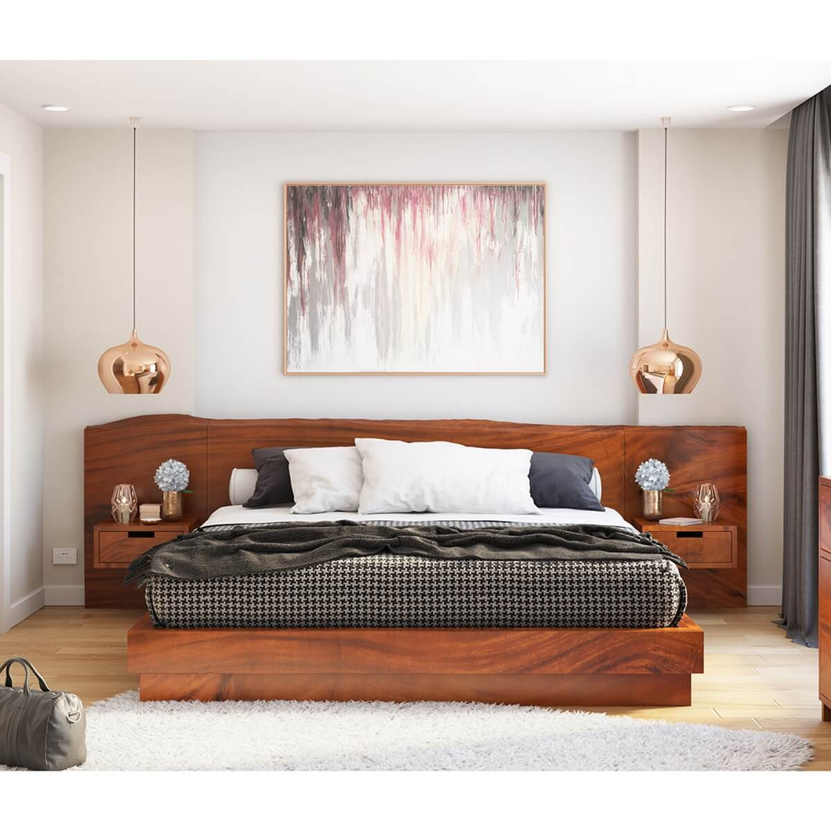 Batesville Solid Wood Platform Bed With Single Slab Live Edge Headboard
