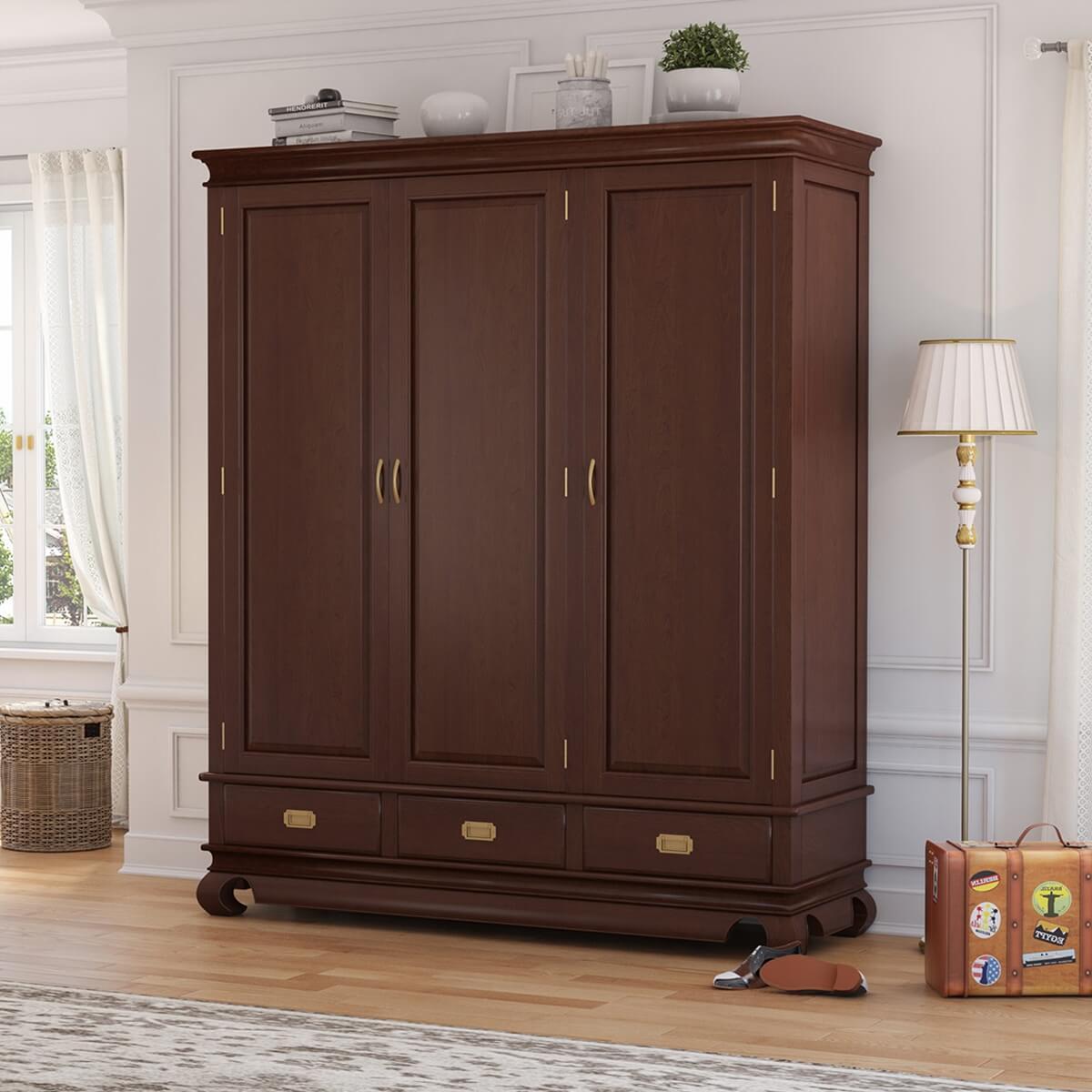Oraibi 3 Door Mahogany Wood Large Armoire Wardrobe With Drawers