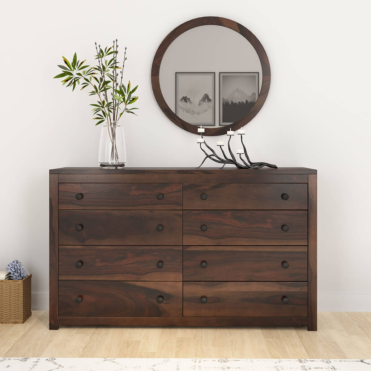 El Centro Rustic Solid Wood Bedroom Dresser with 8 Drawers