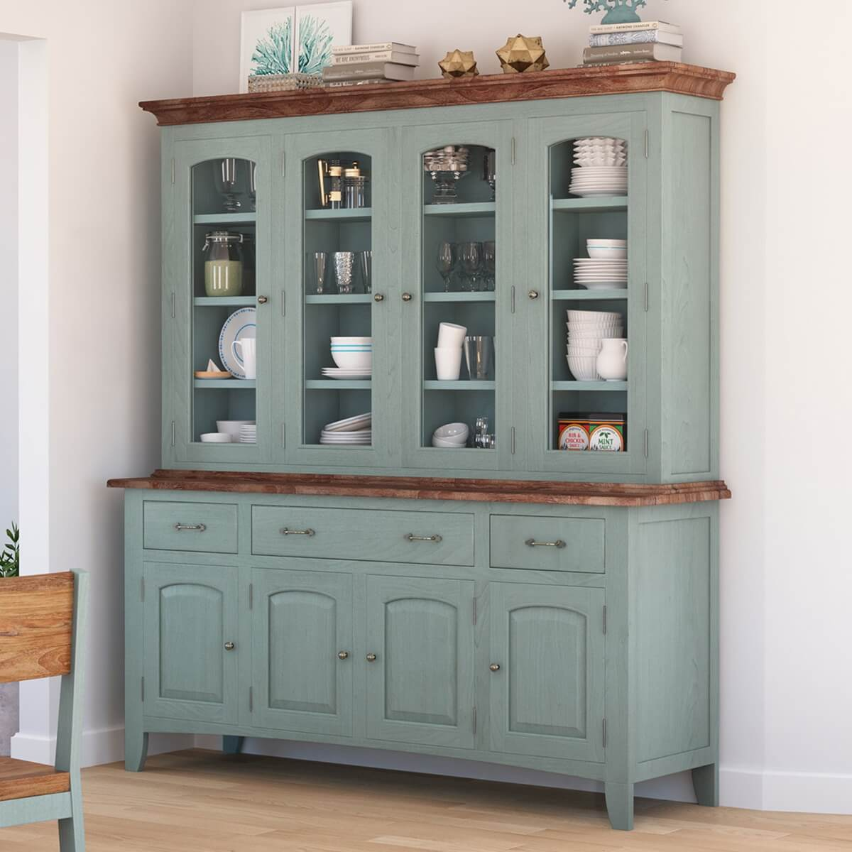 Meriden Solid Mahogany Wood Dining Room Farmhouse Buffet With Hutch