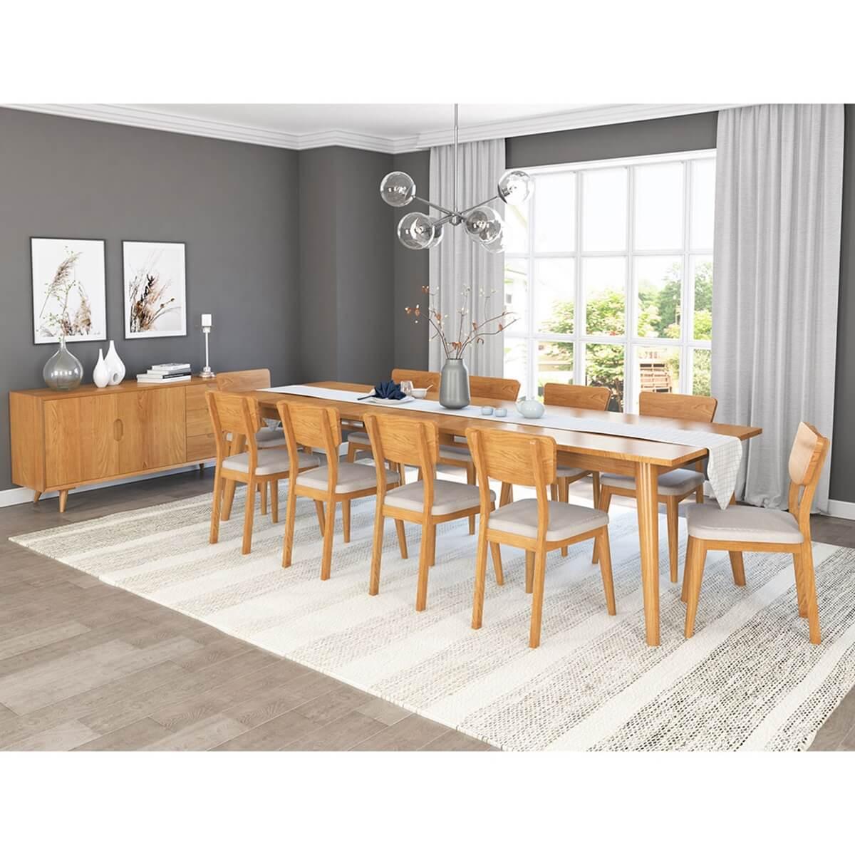 12 Piece Dining Room Set: Cierra Solid Teak Wood Mid Century 12 Piece Dining Room Set