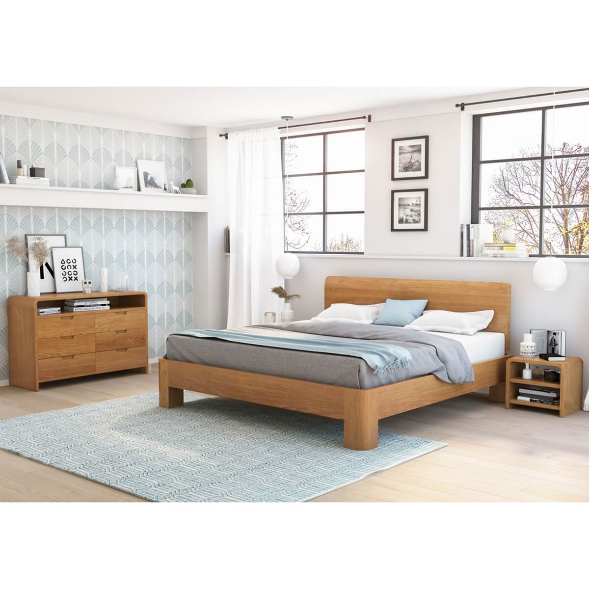 Rebersburg Solid Teak Wood 4 Piece Bedroom Set