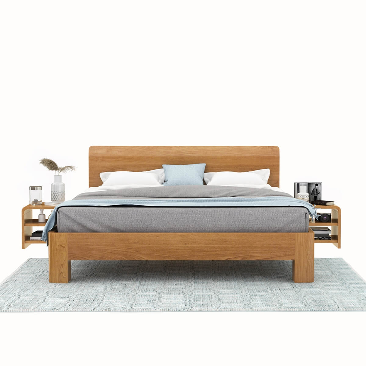 Picture of: Rebersburg Solid Teak Wood Platform Bed