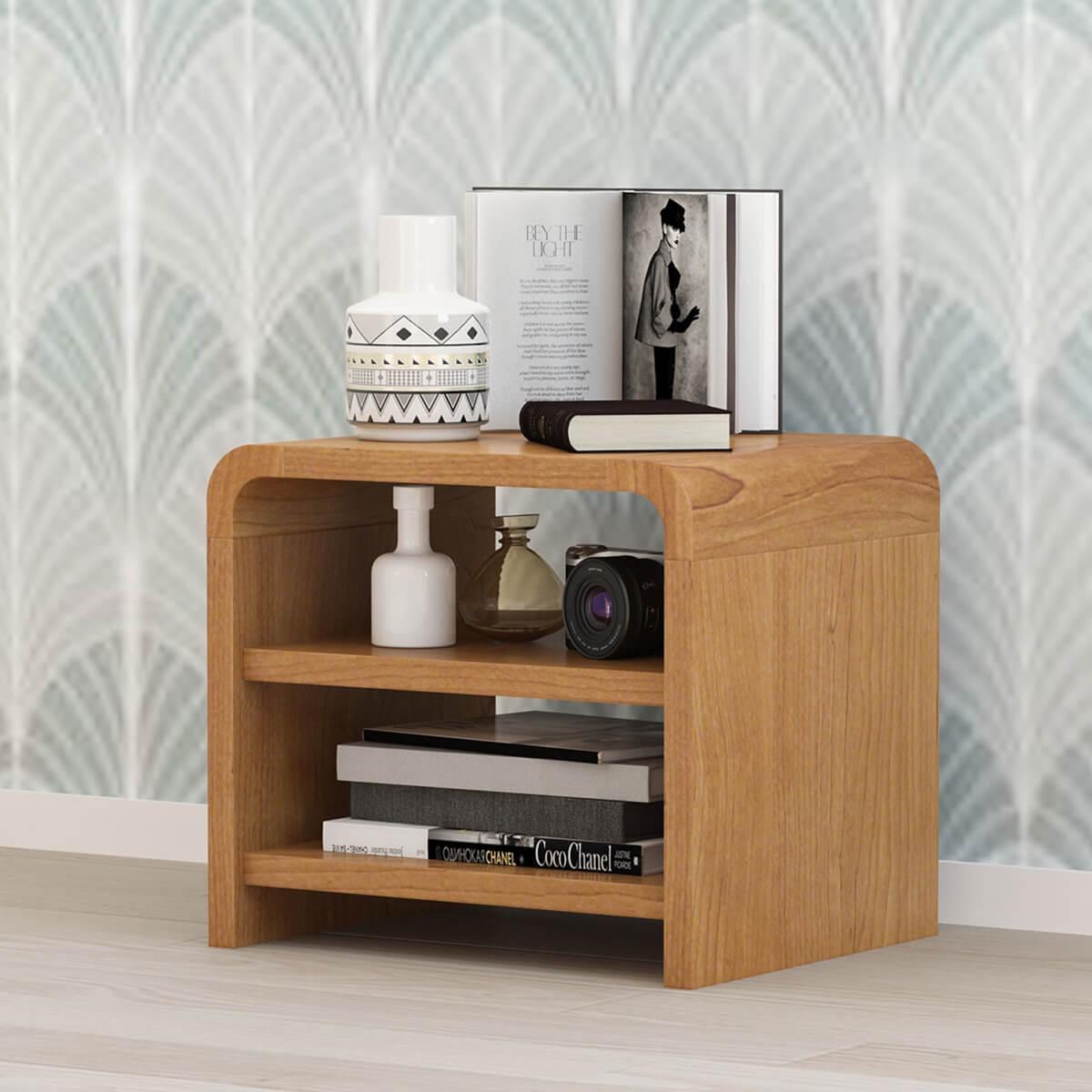 Rebersburg Solid Teak Wood 3 Tier Nightstand With Open Shelves