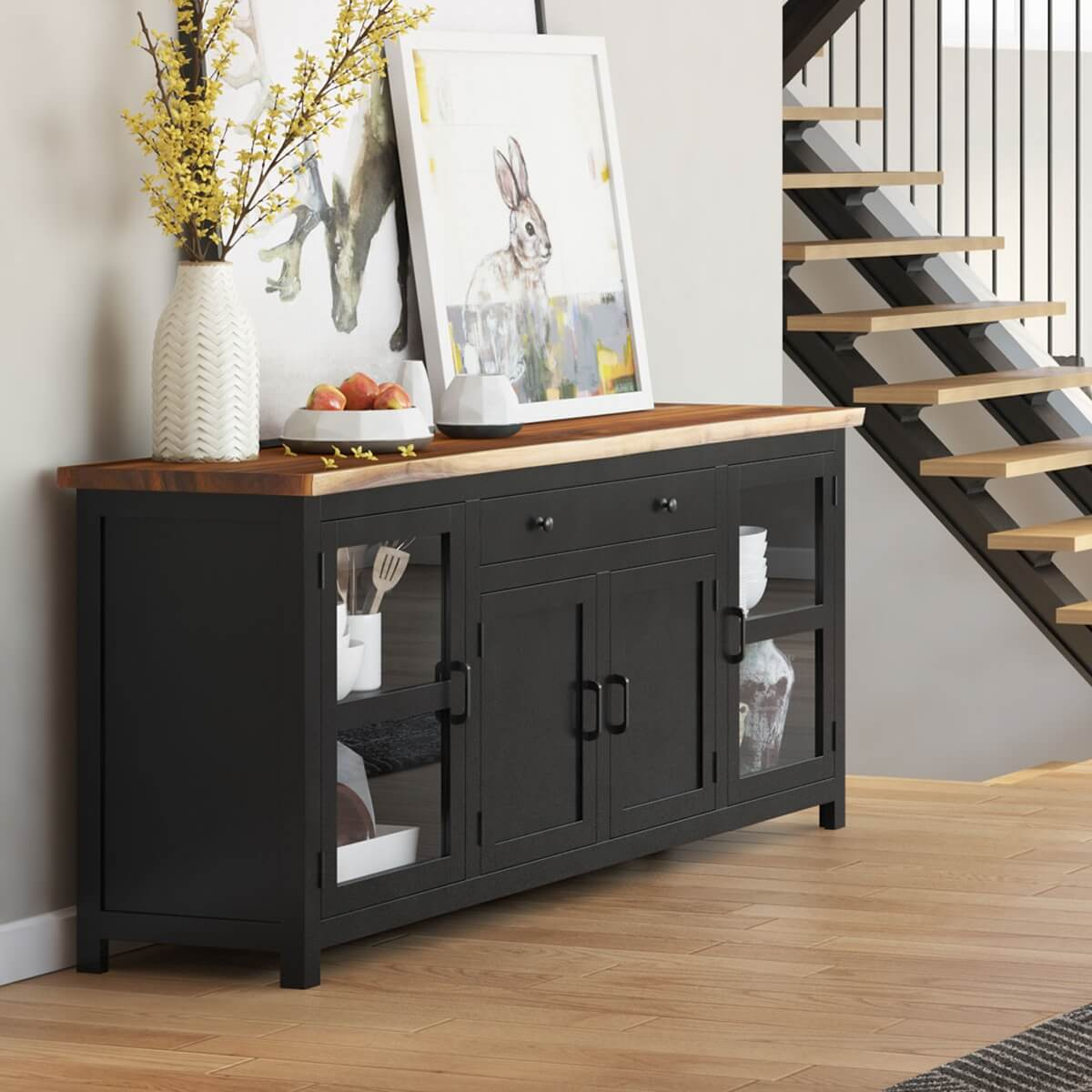 Picture of: Laconia Solid Wood Live Edge Extra Long Buffet Cabinet