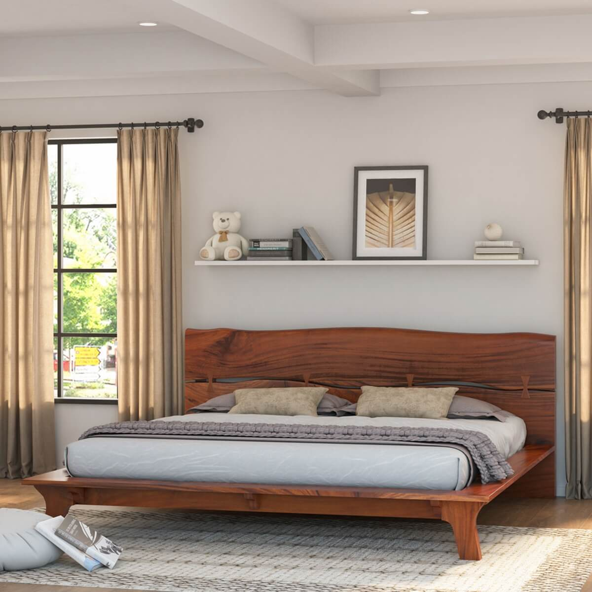 Levi Solid Acacia Wood Platform Bed Frame with Live Edge Headboard