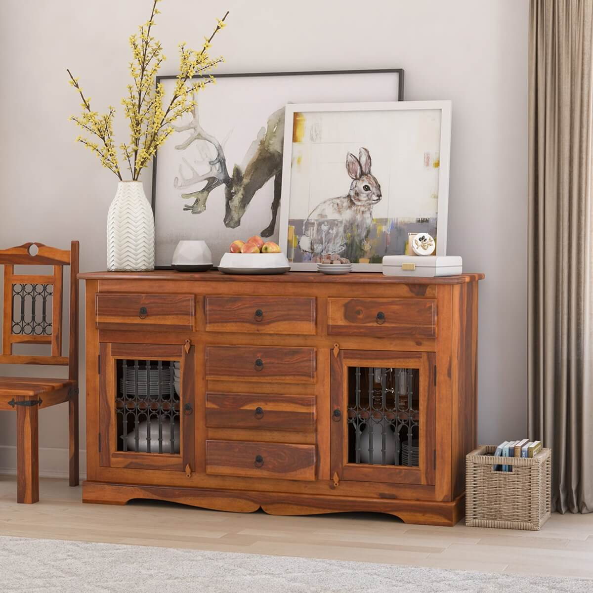 Philadelphia Classic Transitional Rustic Solid Wood Large Sideboard