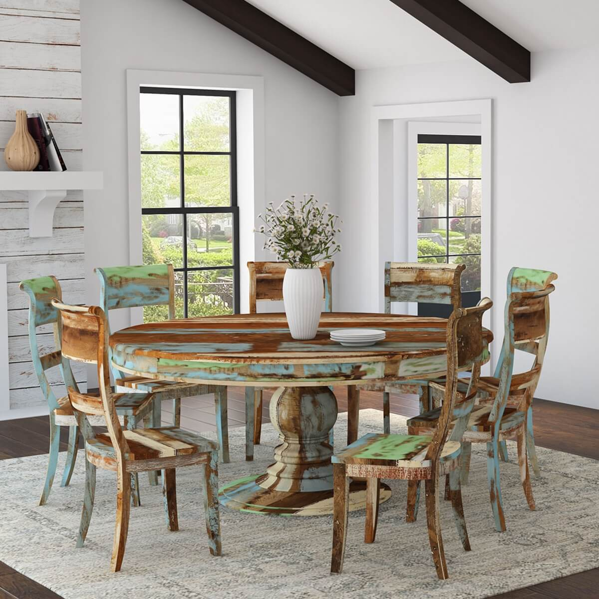 Wilmington Rustic Reclaimed Wood Large Round Dining Table Chair Set