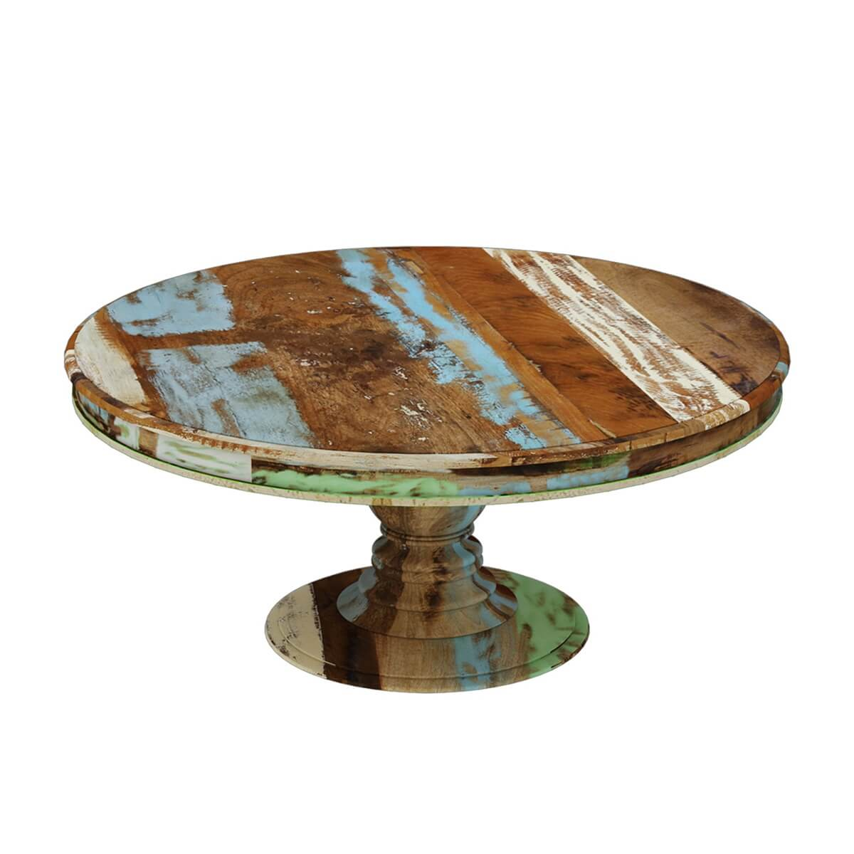 Wilmington Rustic Reclaimed Wood Round Pedestal Dining Table