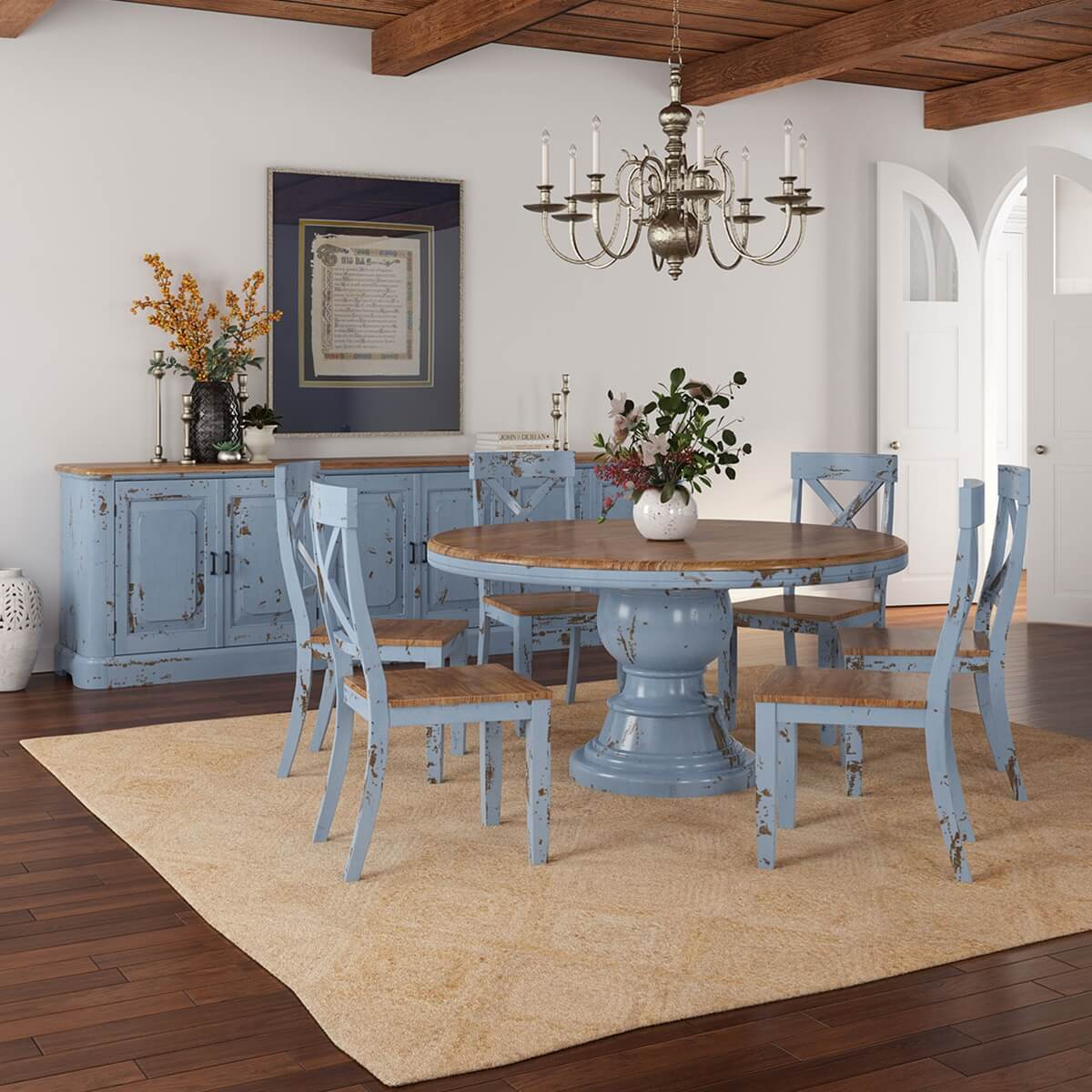 Nauvoo Blue Two Tone Mahogany Wood 8 Piece Dining Room Set