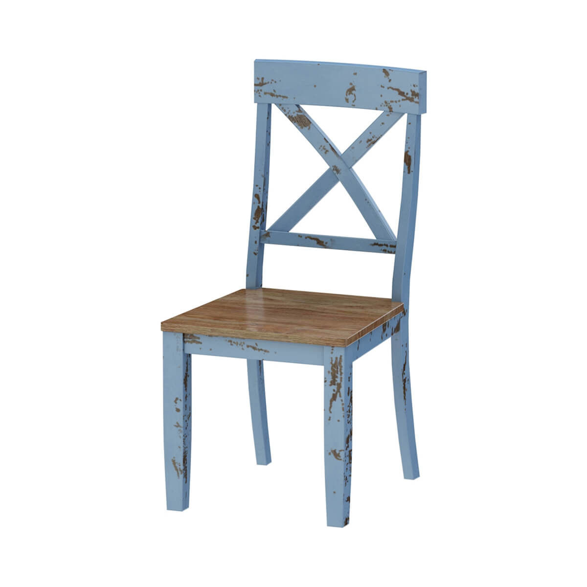 Nauvoo Blue Two Tone Mahogany Wood Dining Chair
