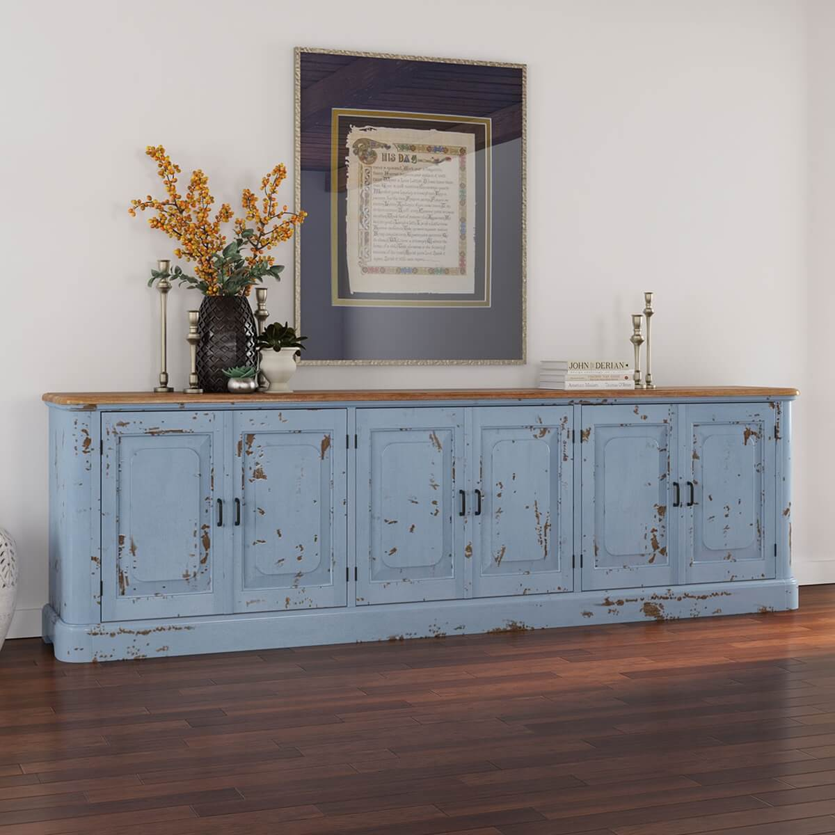 Picture of: Nauvoo Blue Two Tone Mahogany Wood Extra Long Buffet Sideboard