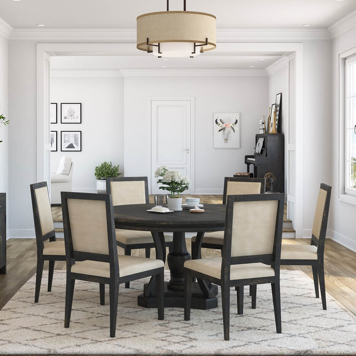 Abingdon Rustic Solid Wood Round Pedestal Dining Table Chair Set