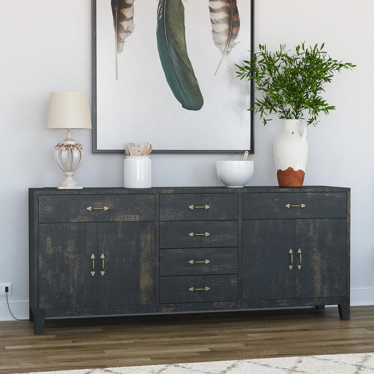 Abingdon Rustic Solid Wood 6 Drawer Extra Long Sideboard Cabinet