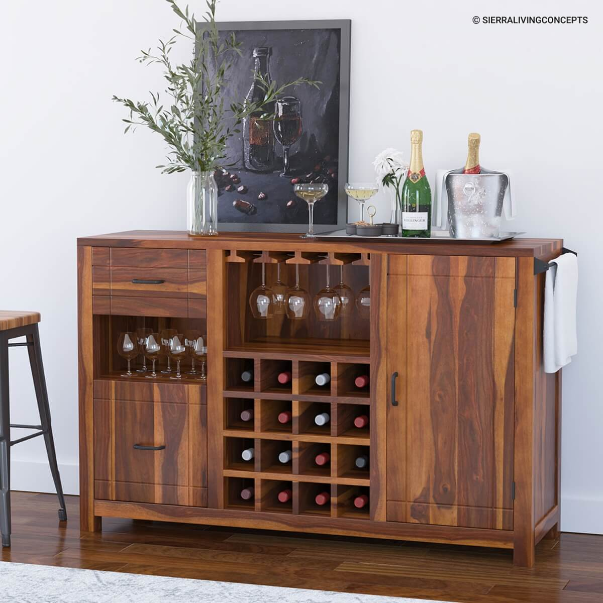 Mancos Rustic Solid Wood Modern Bar Cabinet With Slide Out Drawer