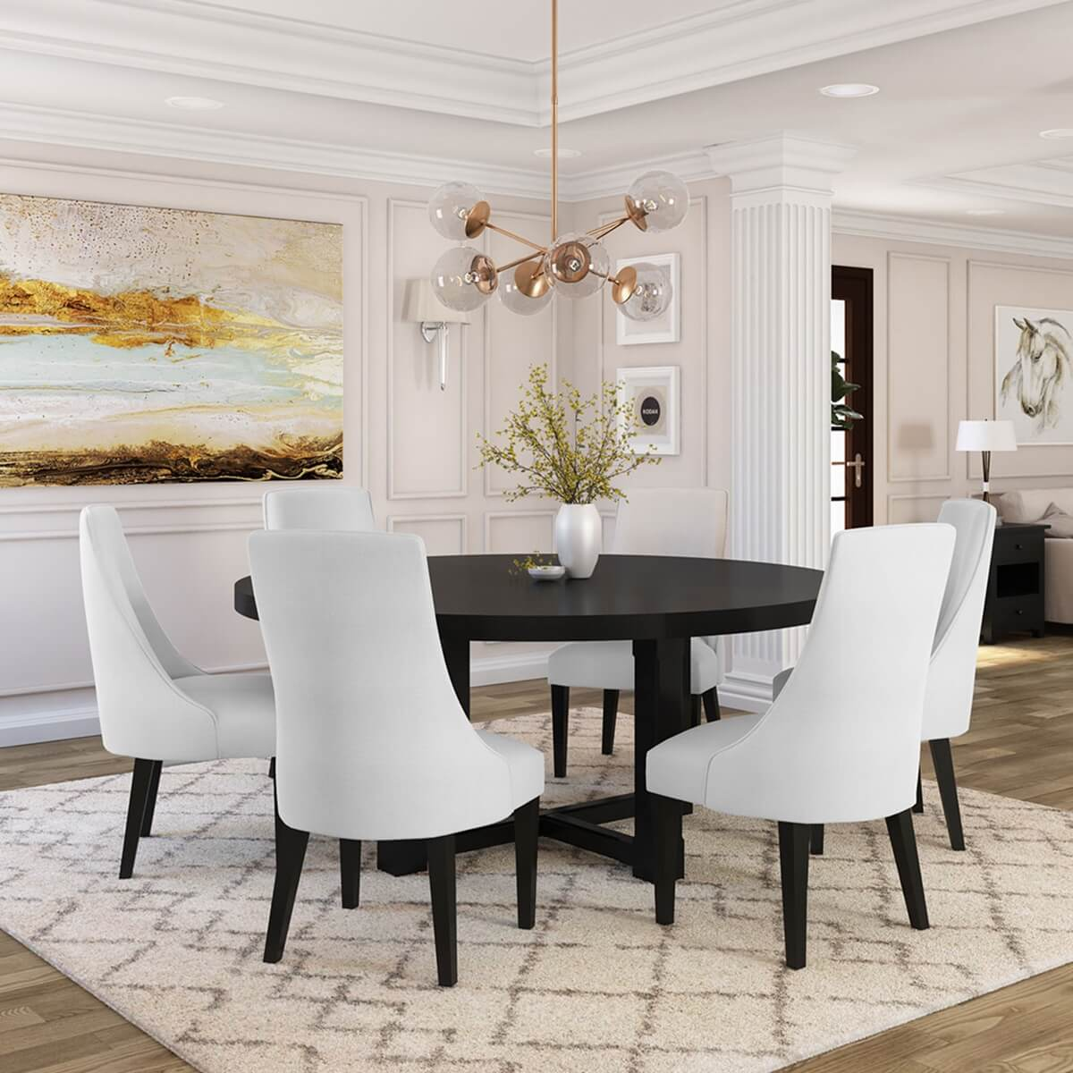 Evanston Rustic Solid Wood Round Dining Table Chair Set