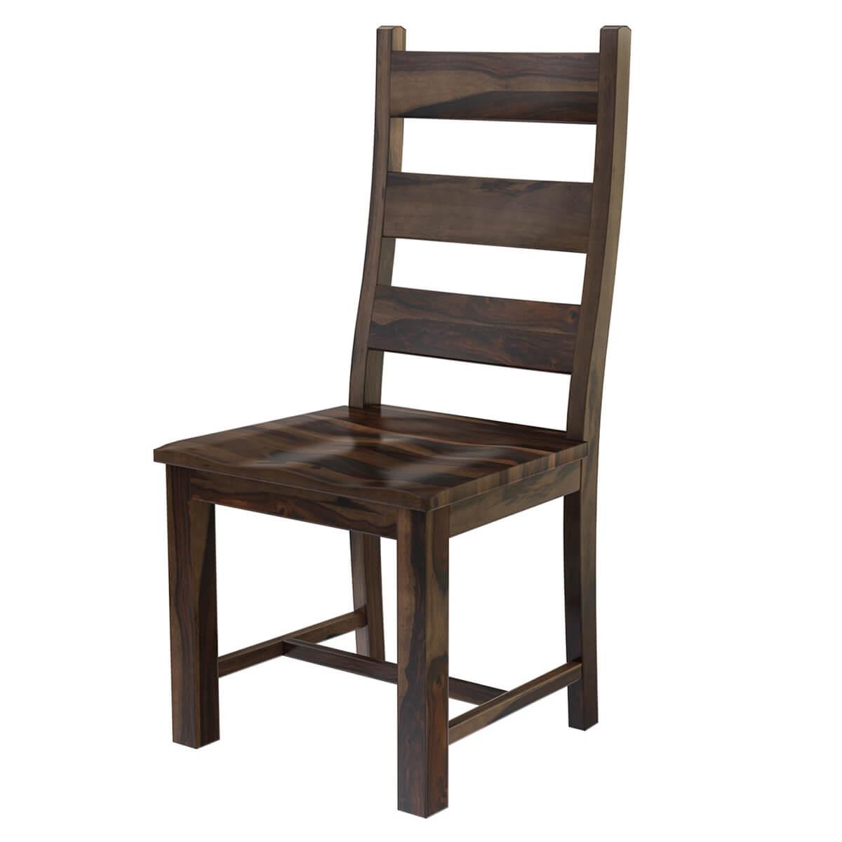 Modern Pioneer Rustic Solid Wood Ladder Back Dining Chair