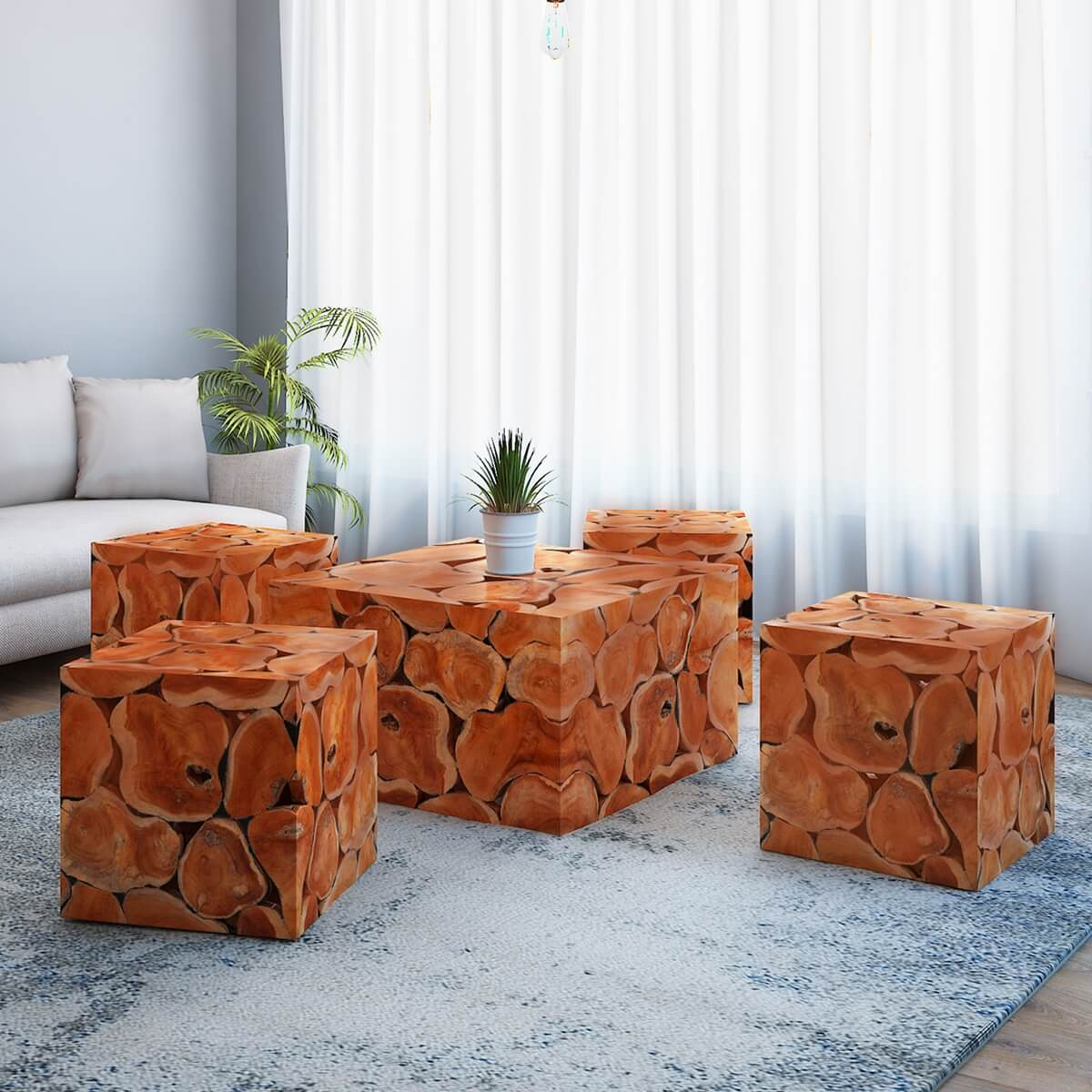 Rodin Solid Teak Wood Root Slice Square Coffee Table and Stool Set