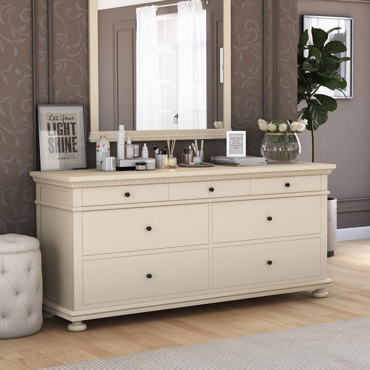 Otranto Mahogany Wood 7 Drawer Large Bedroom Dresser