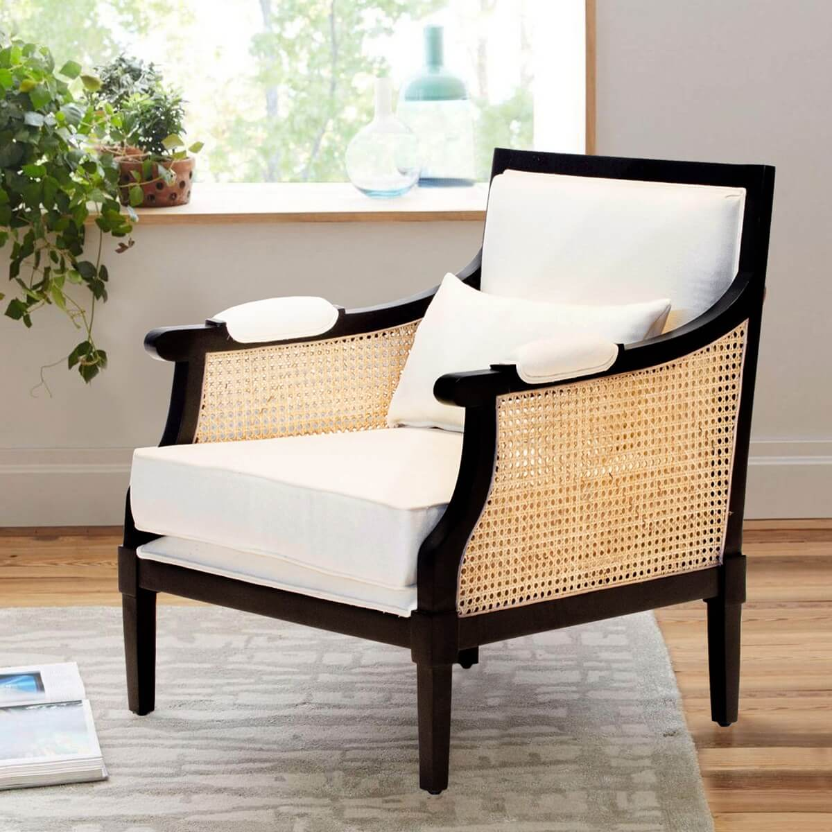 Nemaha Mahogany Wood Upholstered Caned Arm Sofa Chair