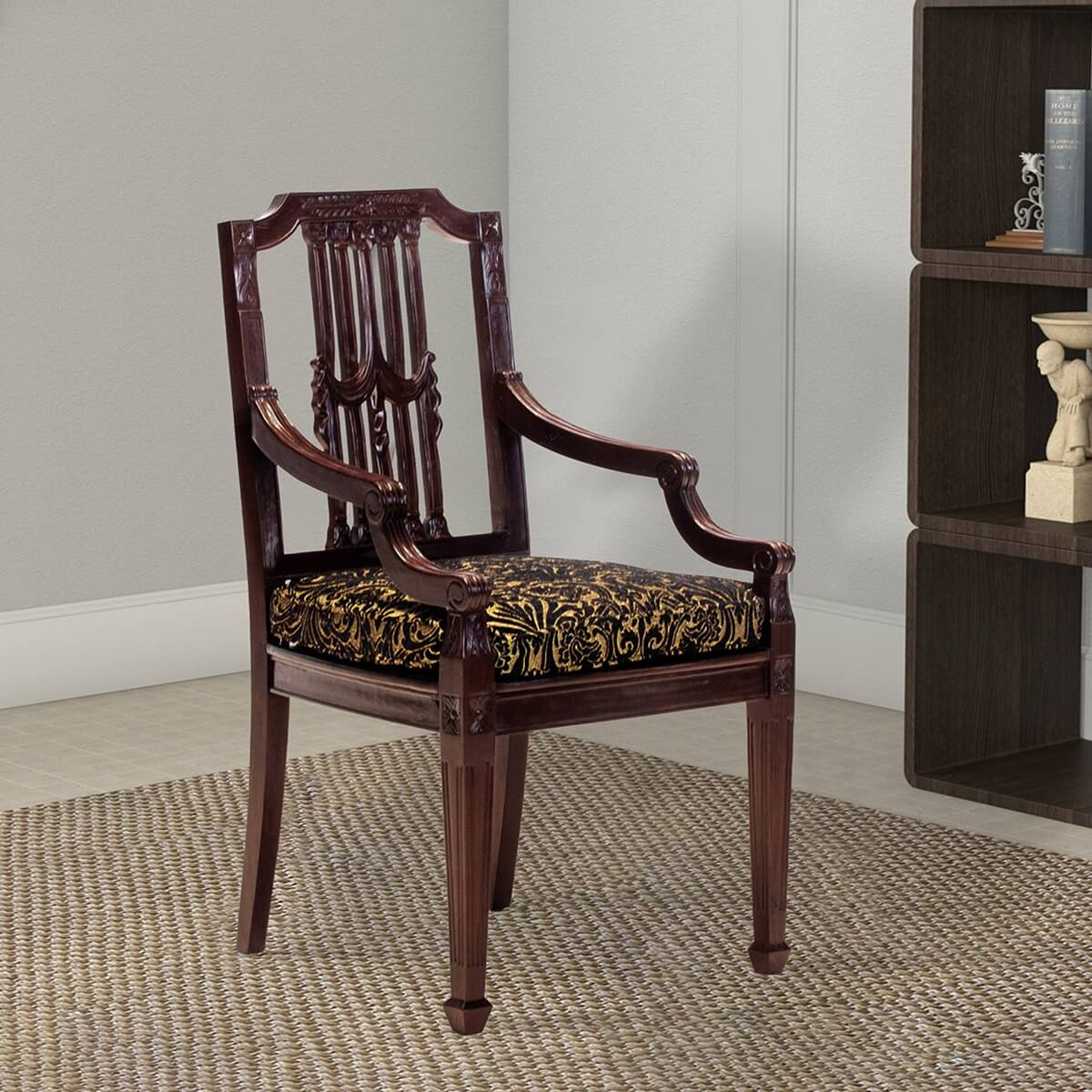 Ogden Handcrafted Mahogany Wood Upholstered Accent Dining Chair