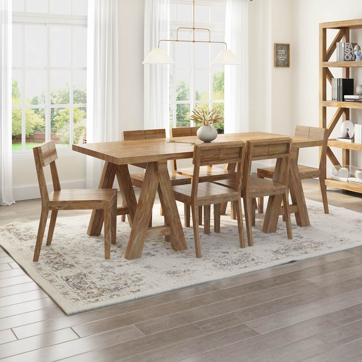 Fernie Rustic Solid Wood 7 Piece Dining Table & Chair Set