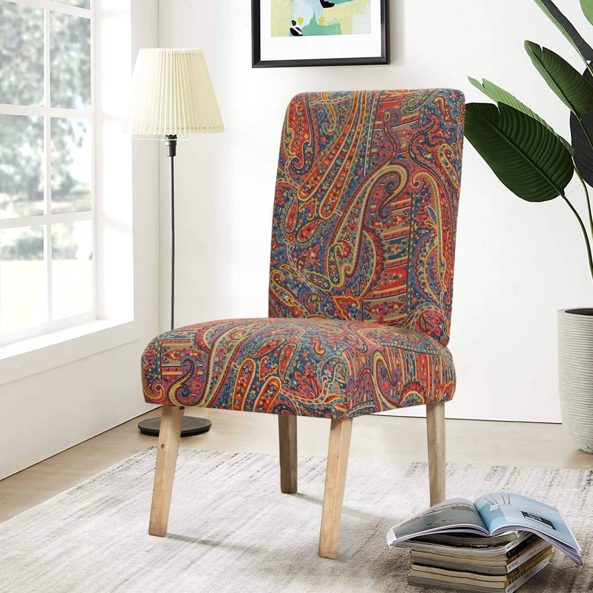 Edmonton Rustic Solid Wood Accent chair with Paisley Print Upholstery