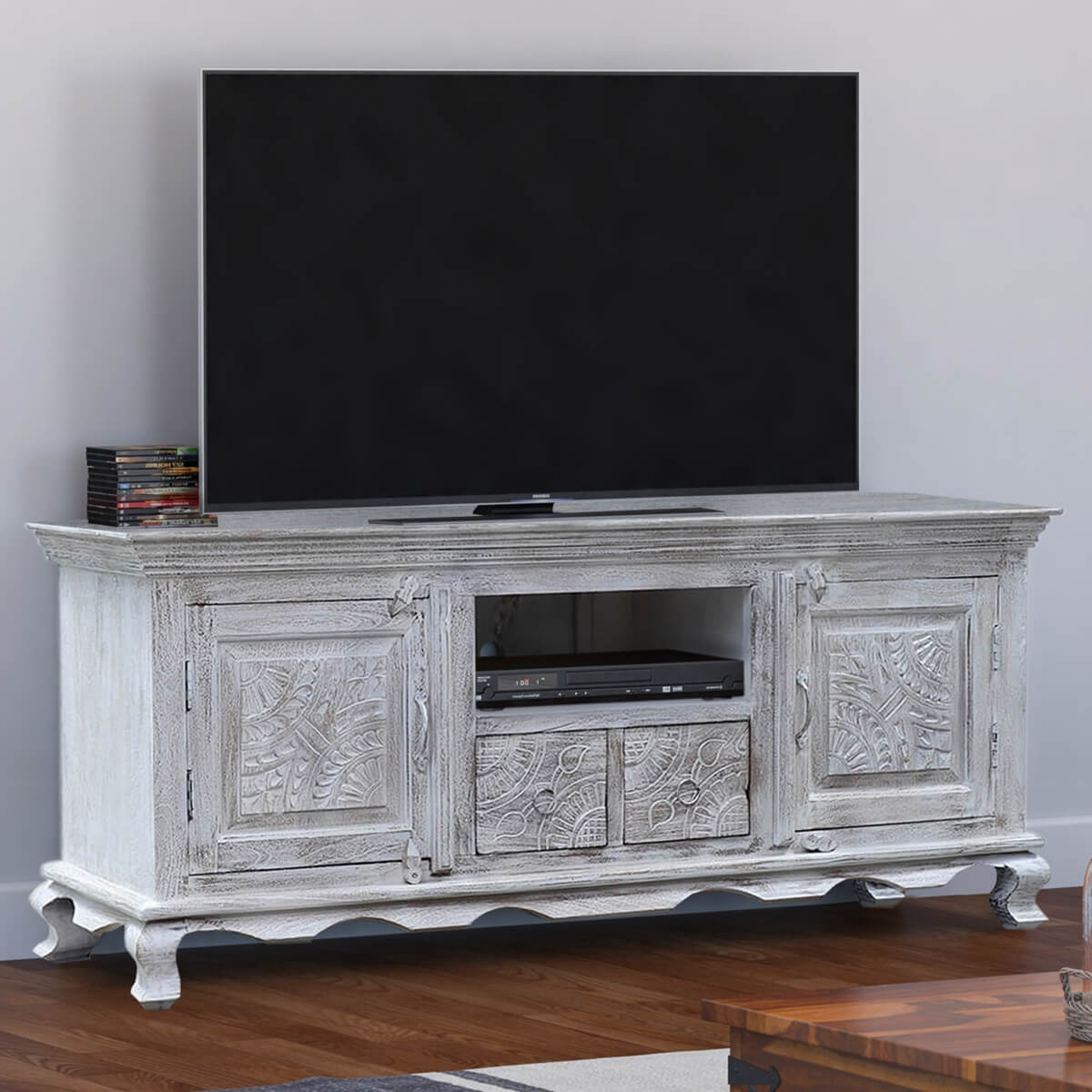Caledon Hand Carved Rustic Reclaimed Wood TV Stand Media Console