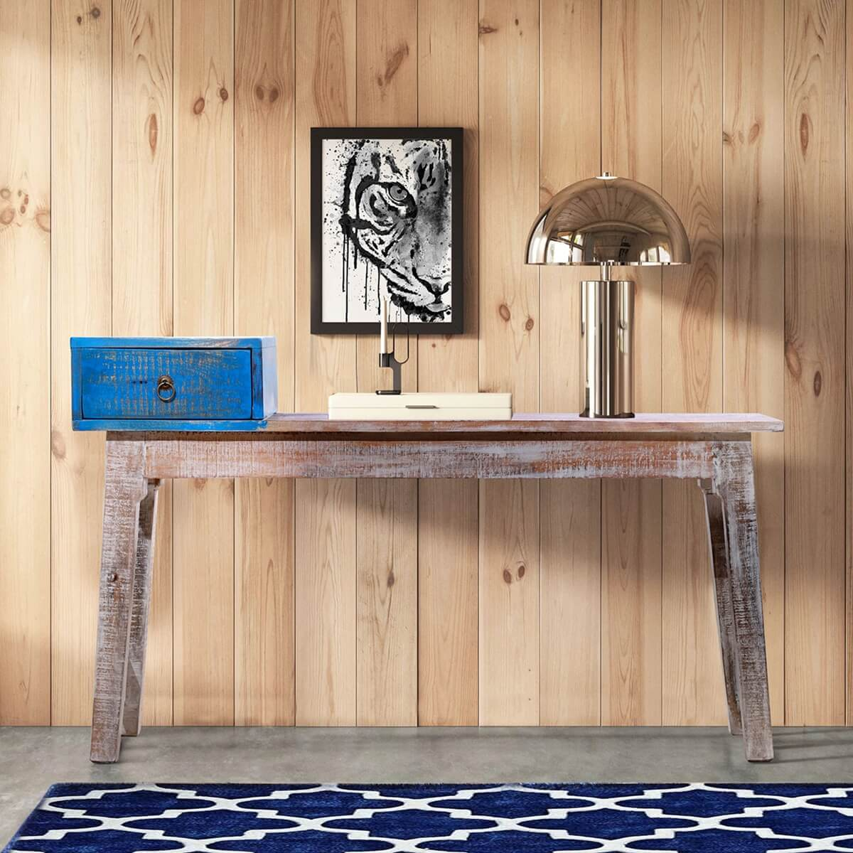 Horizon Two Toned Minimalist Rustic Bench With a Drawer