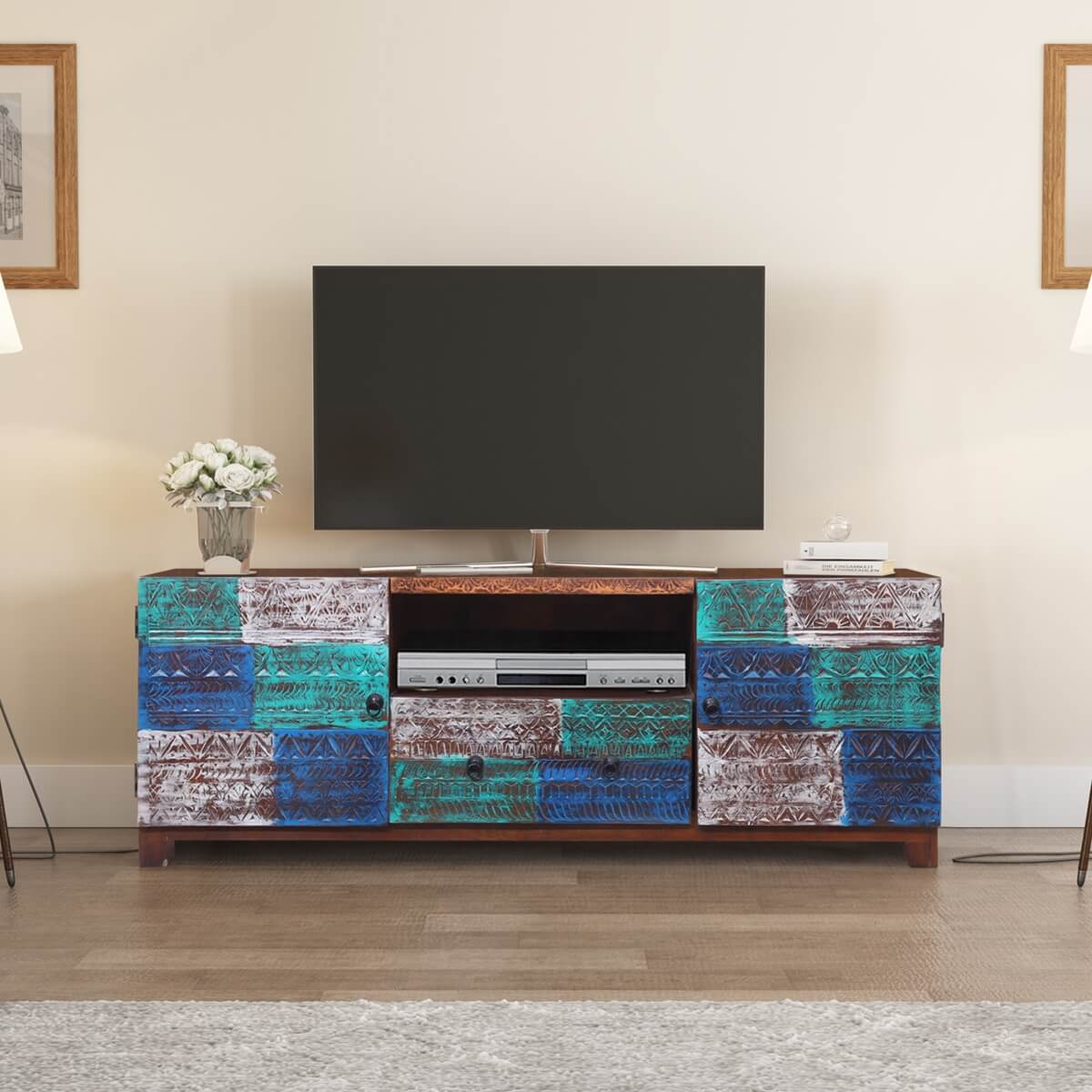 Kathylene Rustic Reclaimed Wood Media Cabinet With 2 Drawers