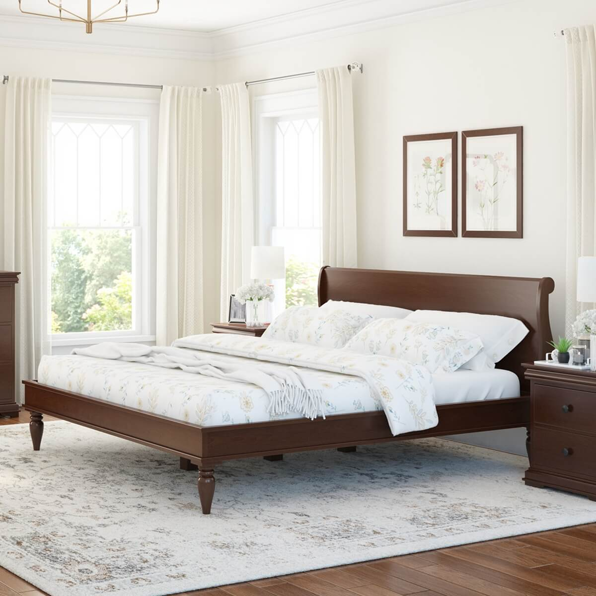 Classic Sleigh Style Handcrafted Mahogany Wood Low Platform Bed