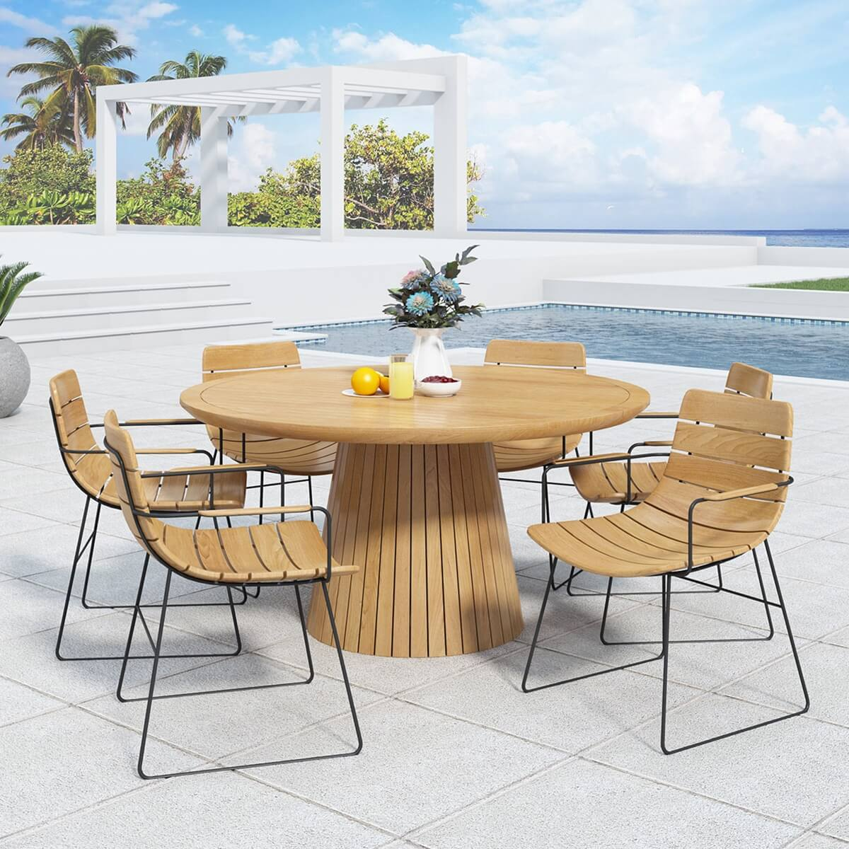 Zenad Teak Wood Outdoor Round Dining Table and Chair Set