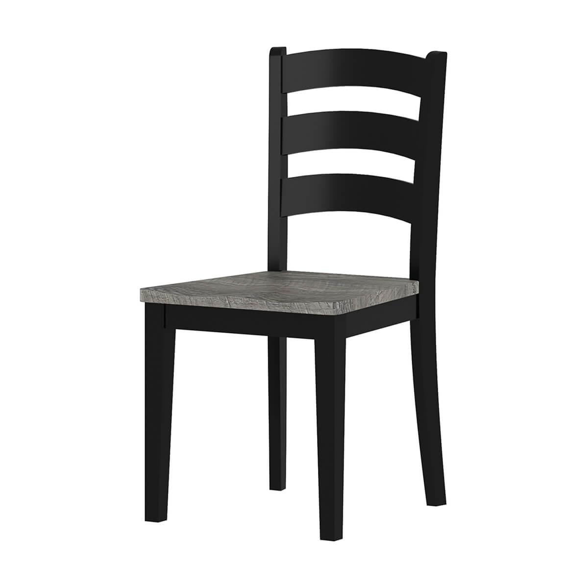 Moosonee Black Two Tone Solid Wood Farmhouse Ladder Back Dining Chair