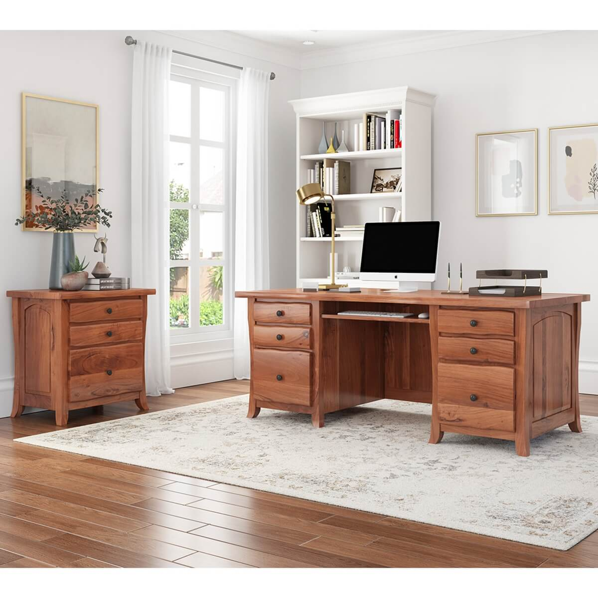 Congleton Live Edge Solid Wood Home Office Executive Desk with File Cabinet
