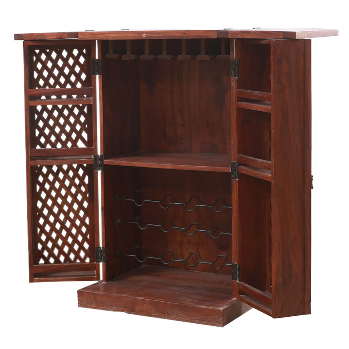 Barrie Expandable Flap-Top Bar Cabinet Armoire with Lattice-Doors