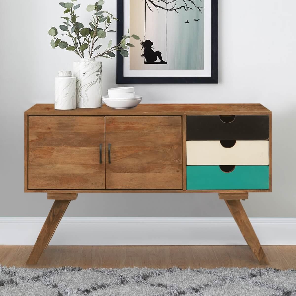 Souris Scandinavian Mango Wood 2 Door Rustic Buffet Cabinet