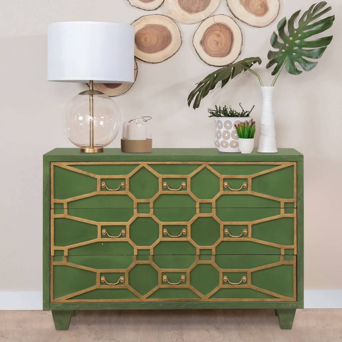 Rimouski Solid Wood 3 Drawer Accent Green Bedroom Dresser