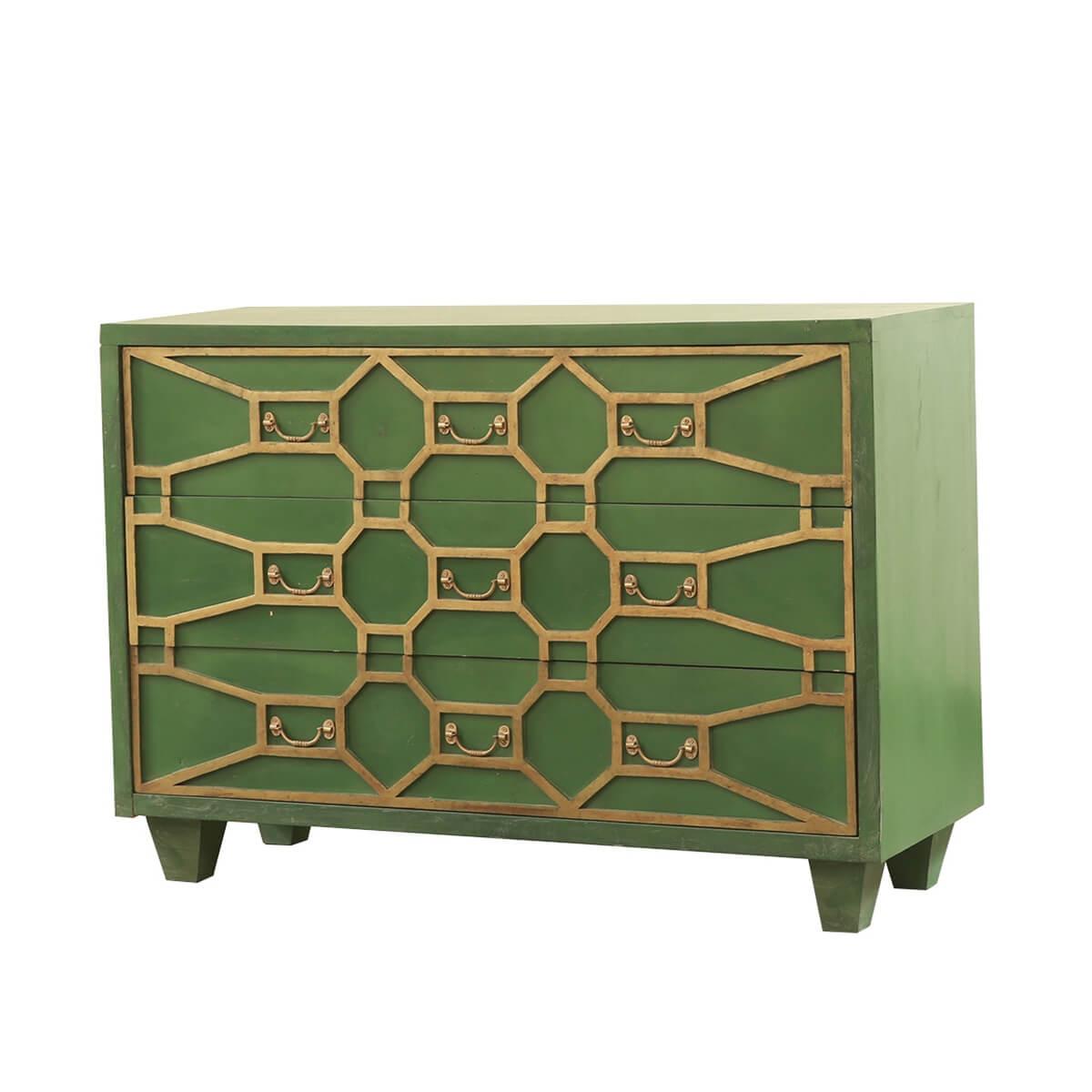 Rimouski Solid Wood 20 Drawer Accent Green Bedroom Dresser
