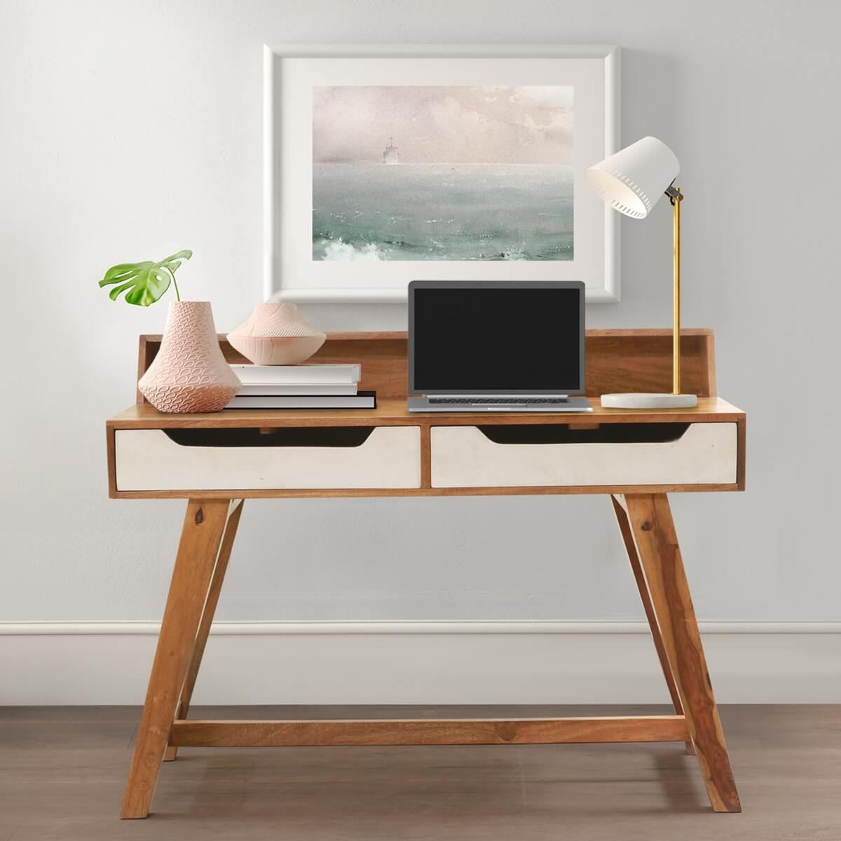 Solid Wood Scandinavian Splayed Desks For Small Spaces With Storage
