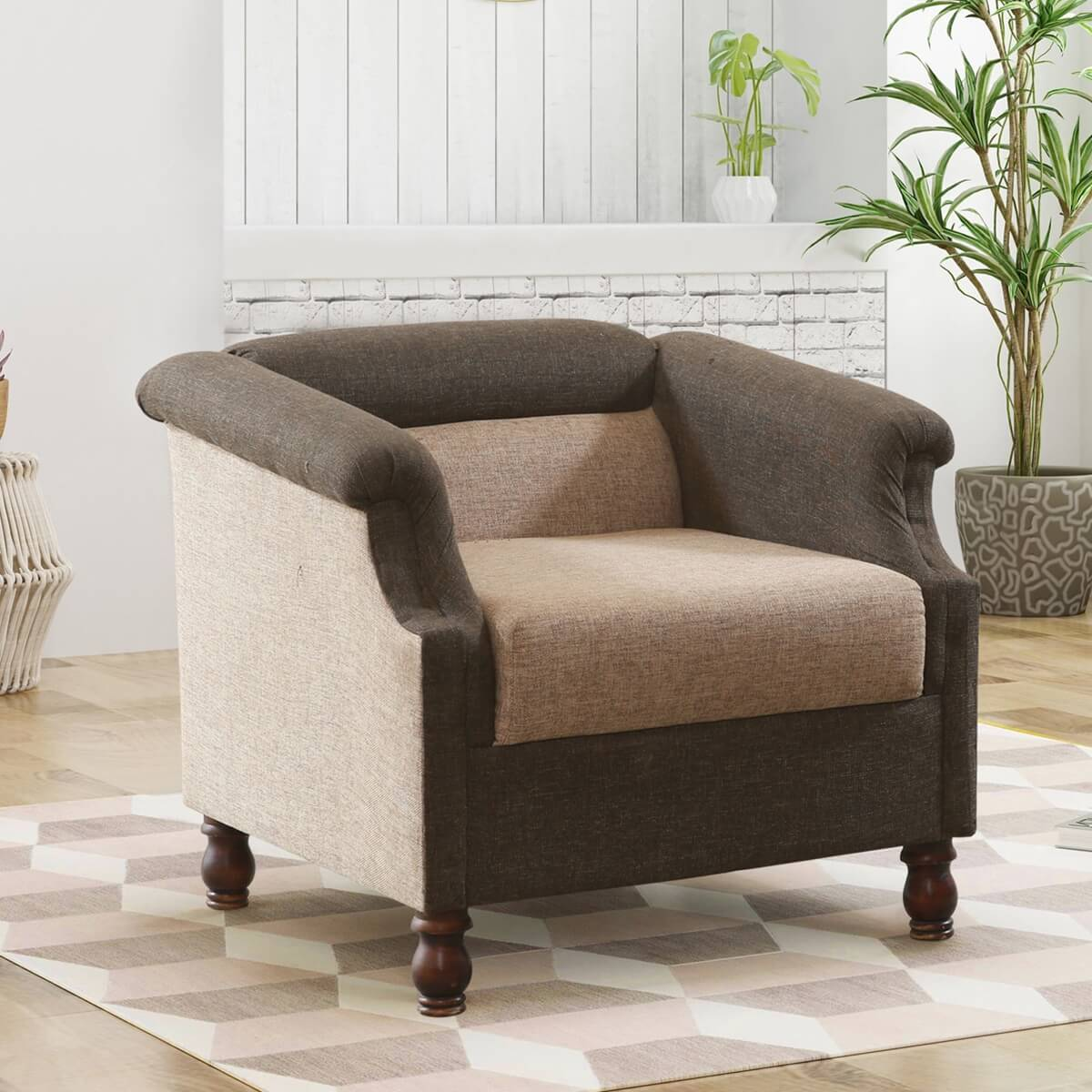 Simcoe Solid Wood Handcrafted Upholstered Sofa Armchair